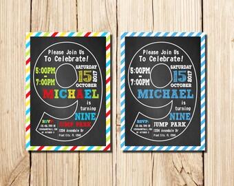 9th Birthday Invitation, ninth Birthday Invitation, Boy, Сhalkboard, 9th birthday invitations Boy, Man, nine, 9th Birthday Invitations