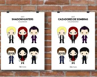 2017 Printable Calendar - Shadowhunters 2017 Calendar, 2017 Calendar Download, 3 different sizes, Cassandra Clare, Mortal Instruments