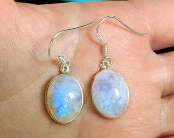 Rainbow Moonstone Earrings, June Birthstone Earrings, Oval Earrings, Bridesmaid Gift, wedding earrings, geometric earrings, bridal earrings