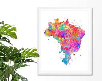 Brazil Watercolor Map 2  Art Print, Poster, Wall Art, Contemporary Art, Modern Wall Decor, Office Decor