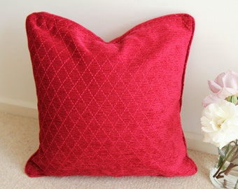Red Velvet Cushion Cover, Red Cushion Cover , Red Pillow Cover