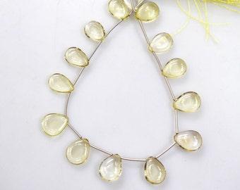 """Beautiful Natural Lemon Quartz Plain Smooth Pear Shape Beads - Lemon Quartz Briolette , 10x13 - 11x14 mm , 8"""" , BL1114"""