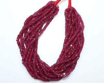 "1 Strand Beautiful Natural Ruby Faceted Rondelle Beads 6"" Strand , Natural Ruby Rondelle Beads , 2.50 - 2.75 mm - MC1036"