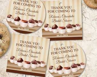 Printable Chocolate Decadence Bridal Shower Party Images, Editable PDF Instant Download for stickers, tags, buttons, cupcake toppers