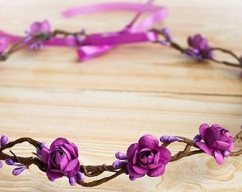 Purple Flower Crown Maternity flower crown photo prop red hair wreath wedding accessories vintage style Flower girl headband Flower Wreath