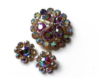 Vintage Aurora Borealis Rainbow Rhinestone Brooch with Earrings