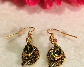 Princess Belle Tea Party Earrings Teacup and Saucer Earrings in Gold, Floral Pink Teacup Earrings Victorian Style