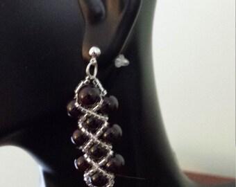 garnet x's and o's earrings