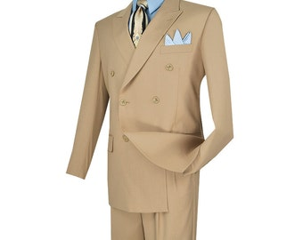 Classic-fit double breasted men's suit 2 piece beige suit solid color new with tag