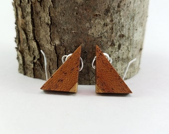 Wood Dangle Earrings, Triangle