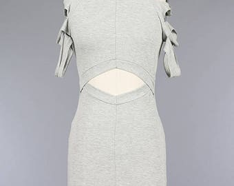 Short Sleeve Arm Slit Open Front Body-con Knit Dress/Women Knit Cutout Fitted Dress ( + Colors )