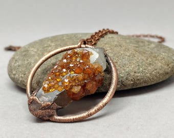 Raw Crystal Necklace - Rare Minerals - Gifts for Her - OOAK Jewelry - Antique Copper - Boho - Garnet Jewelry - Spessartite Garnet Necklace