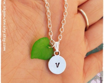 Veggie Necklace, Vegetarian necklace, Vegetarian gift, veggie gift, Vegan Necklace, Green Leaf necklace, Initial Necklace, veg jewelry, 269