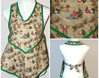 Kids apron, Childs apron, Christmas apron, 1920s Retro apron, Retro inspired apron, Vintage style, Full apron, gift from grandmother
