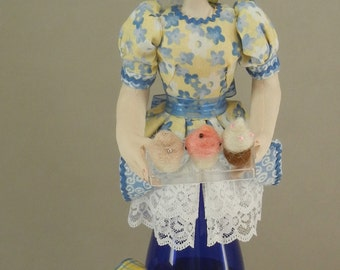 Cupcake, OOAK Bottle Doll. Art Doll, Fiber Arts