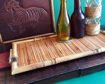 Vintage Bamboo Rectangular Tray with Handles, Serving Tray, Platter