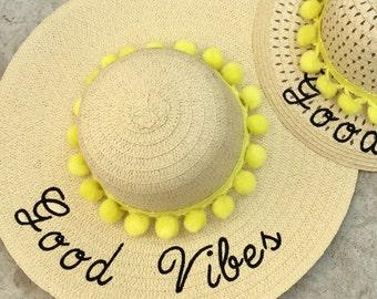 Floppy Hat Embroidered Beach Hat - Custom Bride Hat - Summer Straw Hat - Good Vibes - Wedding - Bachelorette Gift - Floppy Beach Hat