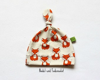 Baby Hat, Newborn Hat, Baby knoted Hat, Baby Hat with Foxes