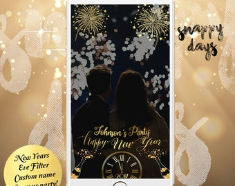 SNAPCHAT NEW YEARS eve Geofilter   Fireworks Champagne Holiday Party Wedding, Gold, Rose Silver   24 hours Design for any event   Birthday
