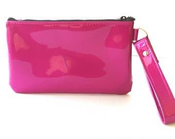 Pink Sparkle Wristlet Purse, Glitter Auto Upholstery Vinyl, Retro Clutch Handbag