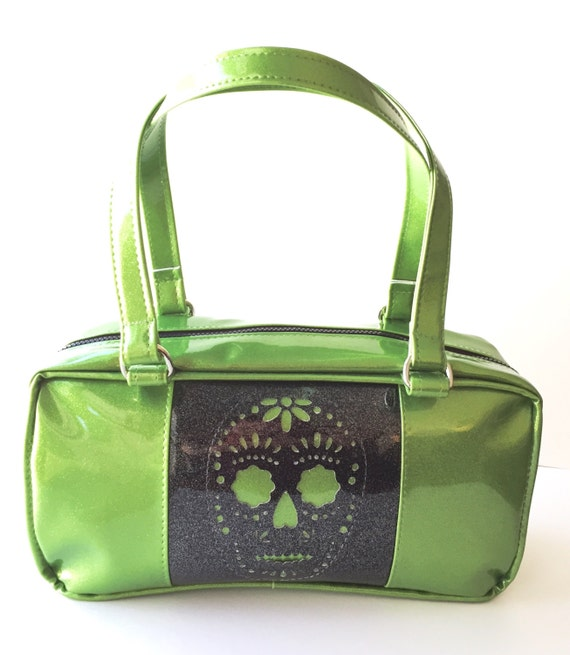 lime green sparkle sugar skull purse glitter auto upholstery vinyl day of the dead dia de los. Black Bedroom Furniture Sets. Home Design Ideas