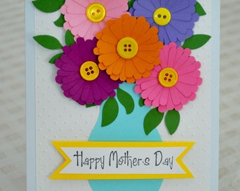 Mother's Day Card - Flower Mother's Day Card - Happy Mother's Day - Floral Mother's Day - 3D Flower Card