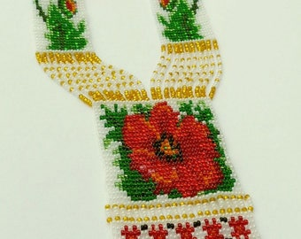 Seed bead necklace Gerdan Red poppy Red White necklace Poppy necklace Statement necklace Boho necklace Ukrainian necklace Gift for women