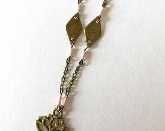 Necklace with chain bronze brass, pendant and connectors in bronze and beads Miyuki
