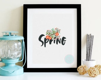 PRINTABLE ART Spring Printable Spring Print Spring Quote Spring Decor Welcome Spring Hello Spring Art Watercolour Floral Flower Print,