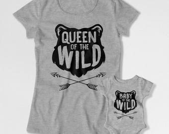 Mommy And Me Clothing Mother And Son Matching T Shirts Mom And Daughter Gift Family TSihrts Queen and Baby of the Wild Bodysuit FAT-780-782