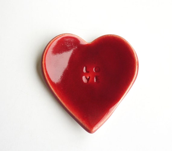 Heart shaped handmade ceramic red jewelry dish for Heart shaped jewelry dish