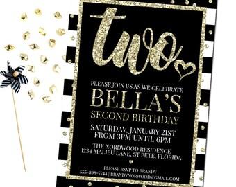 Two Birthday Invitation, 2nd Birthday Invitation Girl, Black and Gold Birthday Invitation, 2nd Birthday Invitation, Printable Invitation