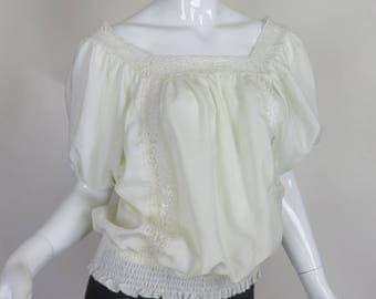 White Peasant Top Shirt Lace Detail Size Medium Elasticized Waist Billowy Silhouette
