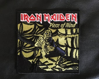 "Iron Maiden ""Piece of Mind"" iron on embroidered patch aprox. 3"" x 3"""