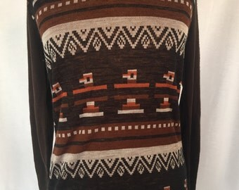 1970's Thunderbird/Native American print sweater