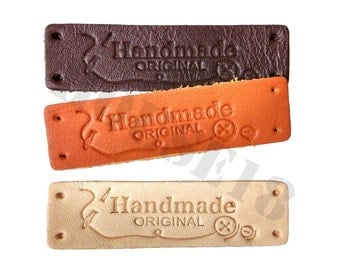 20 PCS Genuine Leather Label Real Leather Label with Holes   Brown, Dark Brown, Light Beige Colors