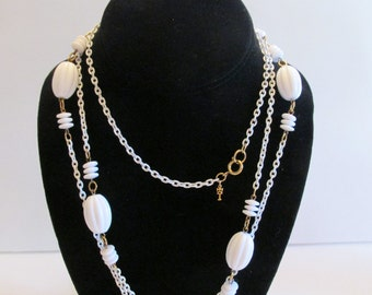 "Beautiful Vintage Trifari White 54"" Long Necklace"