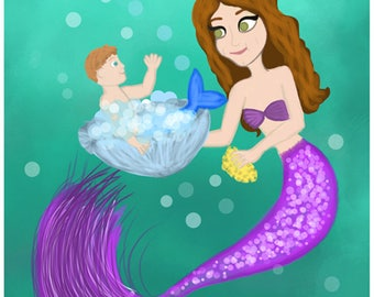 Mermomma and Child / Mermaid Art Print / Fine Art Print / Bathroom Decor / Mother's Day Art (5X7 Print + Digital Copy) -- FREE SHIPPING --