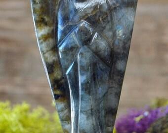 Large Labradorite Hand Carved Angel Sculpture - 1029.33