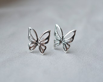 10 mm Butterfly Studs, Handmade Sterling Silver Butterfly Earrings,Tiny Butterfly Studs, insect stud earrings,butterfly wing flower earrings