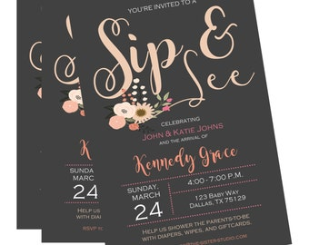 Sip and See Invitation, Sip and See, Sip and See Invitation Girl, Shabby chic Sip and See, Rustic Sip and See Invite, Pink Grey Sip and See
