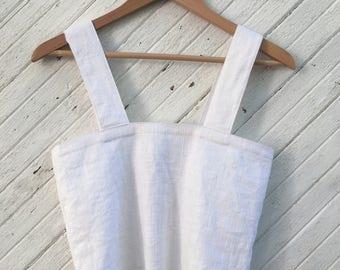 Handmade White Linen Tank Blouse Button Back Fringe Detail