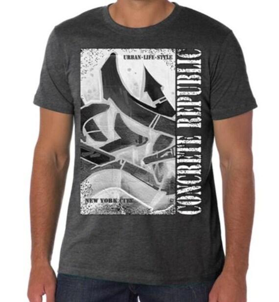 Mens Graffiti Tee Urban Hip Hop tshirt Modern Art Concrete