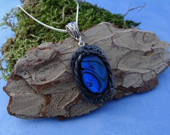 Spiral fantasy oval clay pendant necklace with marbled black-blue cabochon, handmade gothic, victorian, viking, elf and witchy gift for her