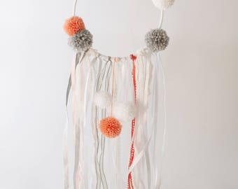 DreamCatcher Princess dreamcatcher coral, white and gray
