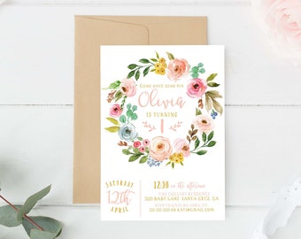 1st Birthday Invitation Floral, First Birthday party invitations,  Girl Boho,  Garden, Girls, Pink, Digital birthday invite, printed invites