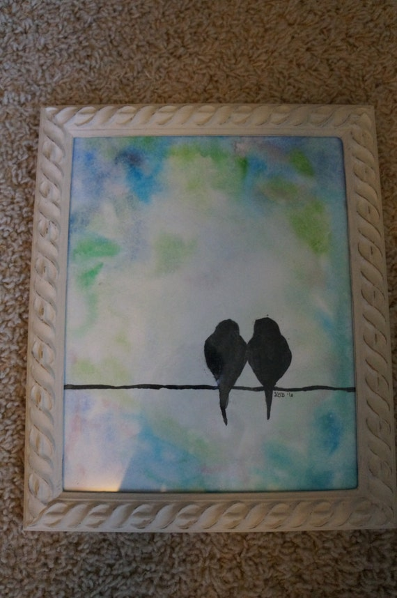 Original Hand Painted Watercolor Wash with Lovebirds Framed 8x10
