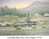"""Lime Rock Race Track Artwork -automobile racing in New England, wall art 11""""x14""""mat size for collectors of racing art"""
