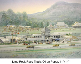 "Lime Rock Race Track Artwork -automobile racing in New England, wall art 11""x14""mat size for collectors of racing art"