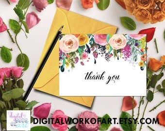 Thank You Printable, Thank You Card, Thank You, Printable Floral Wedding, Bridal, Baby Shower, Instant Digital Download PDF Printable